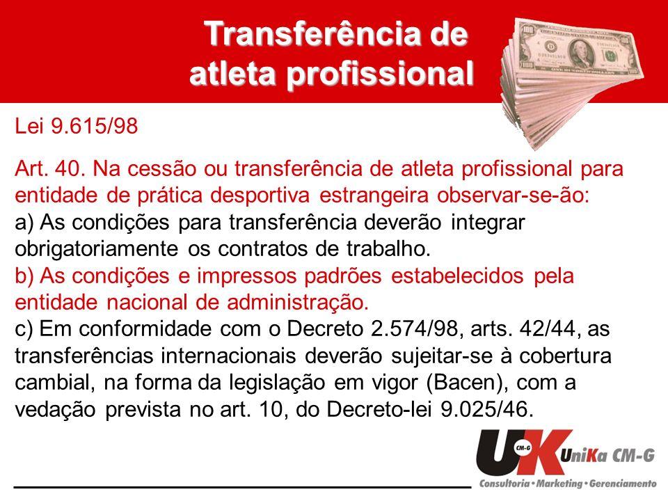 Transferência de atleta profissional Lei 9.615/98 Art. 40. Na cessão ou transferência de atleta profissional para entidade de prática desportiva estra
