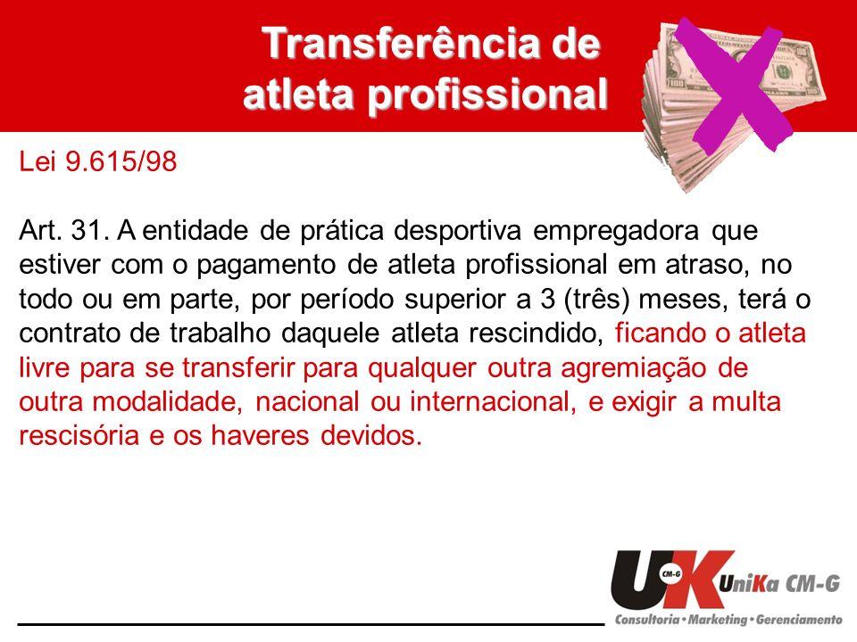 Transferência de atleta profissional Lei 9.615/98 Art. 31. A entidade de prática desportiva empregadora que estiver com o pagamento de atleta profissi