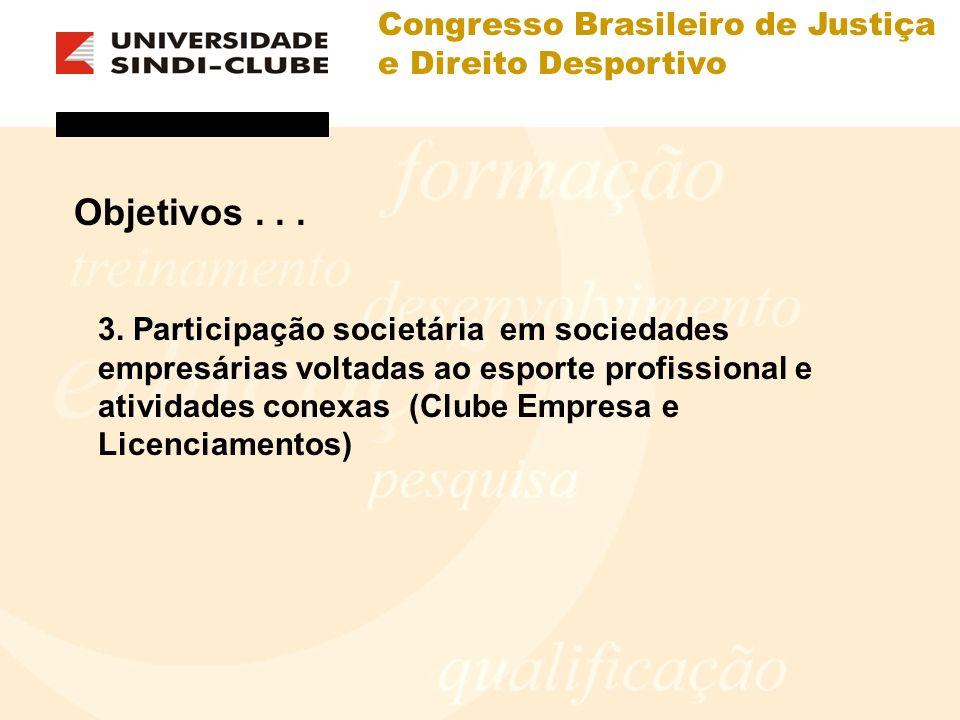 Congresso Brasileiro de Justiça e Direito Desportivo Objetivos... 3. Participação societária em sociedades empresárias voltadas ao esporte profissiona