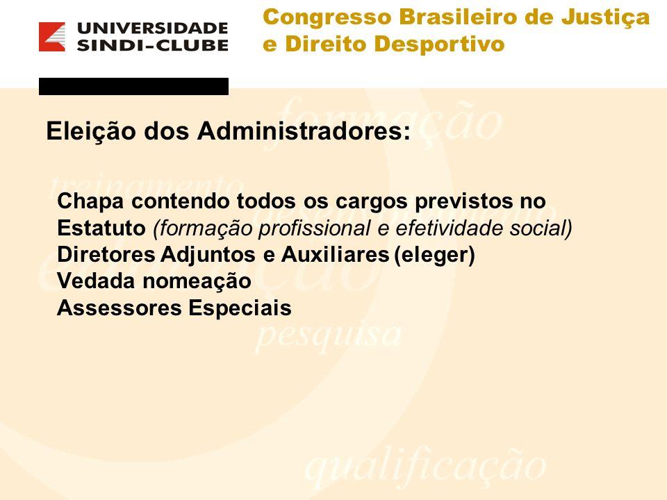 Congresso Brasileiro de Justiça e Direito Desportivo Eleição dos Administradores: Chapa contendo todos os cargos previstos no Estatuto (formação profi