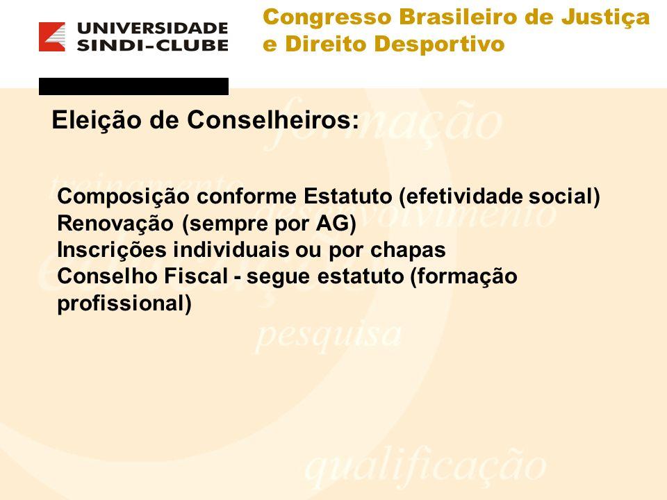 Congresso Brasileiro de Justiça e Direito Desportivo Eleição de Conselheiros: Composição conforme Estatuto (efetividade social) Renovação (sempre por AG) Inscrições individuais ou por chapas Conselho Fiscal - segue estatuto (formação profissional)
