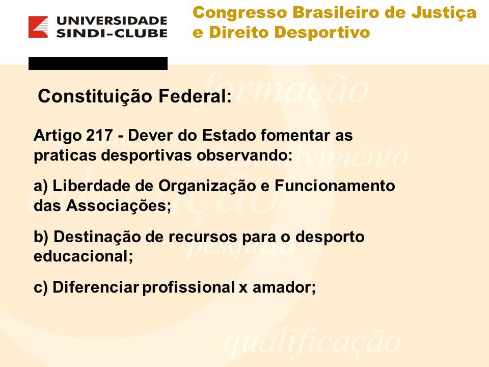 Congresso Brasileiro de Justiça e Direito Desportivo Constituição Federal: Artigo 217 - Dever do Estado fomentar as praticas desportivas observando: a