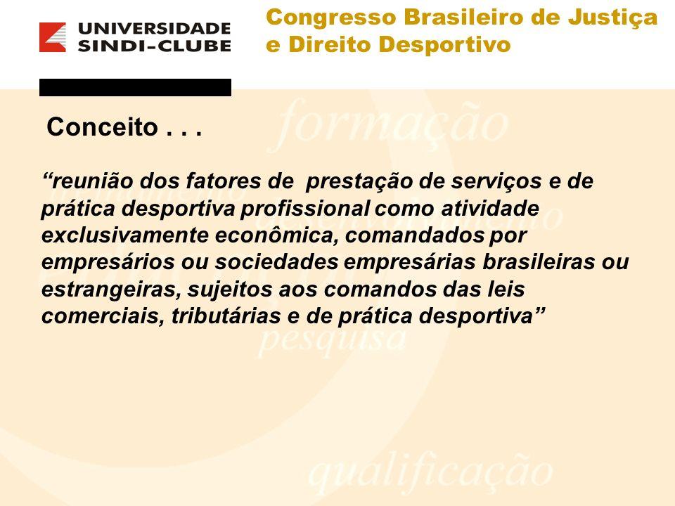 Congresso Brasileiro de Justiça e Direito Desportivo Conceito... reunião dos fatores de prestação de serviços e de prática desportiva profissional com