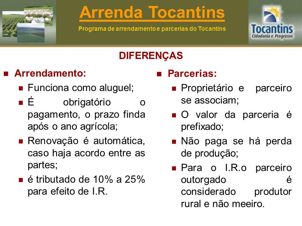 DIFERENÇAS Arrendamento: Funciona como aluguel; É obrigatório o pagamento, o prazo finda após o ano agrícola; Renovação é automática, caso haja acordo entre as partes; é tributado de 10% a 25% para efeito de I.R.