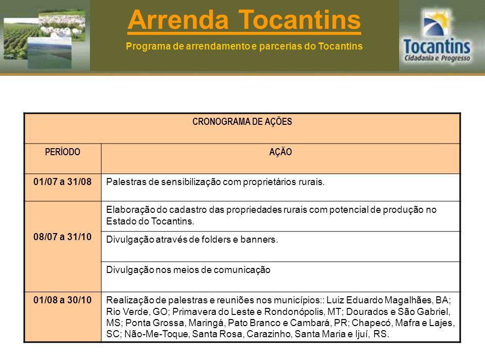 Arrenda Tocantins Programa de arrendamento e parcerias do Tocantins CRONOGRAMA DE AÇÕES PERÍODOAÇÃO 01/07 a 31/08Palestras de sensibilização com proprietários rurais.