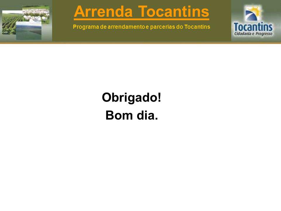 Obrigado! Bom dia. Arrenda Tocantins Programa de arrendamento e parcerias do Tocantins