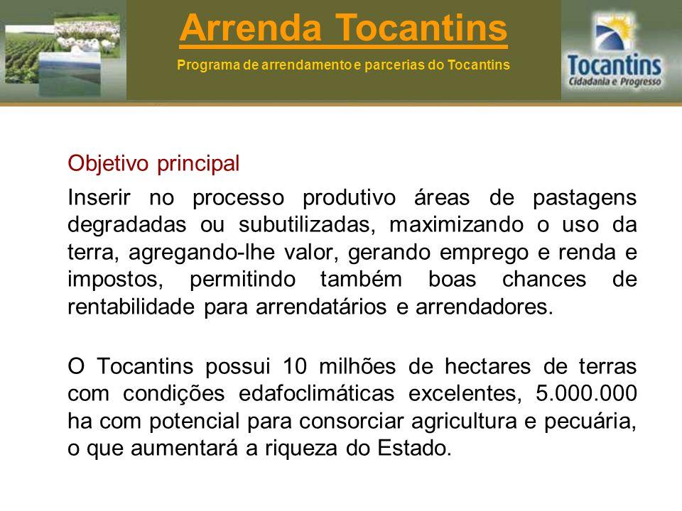Agentes: Na parceria: - Parceiro outorgante - Parceiro outorgado No arrendamento: - Arrendador - Arrendatário - Subarrendatário Arrenda Tocantins Programa de arrendamento e parcerias do Tocantins