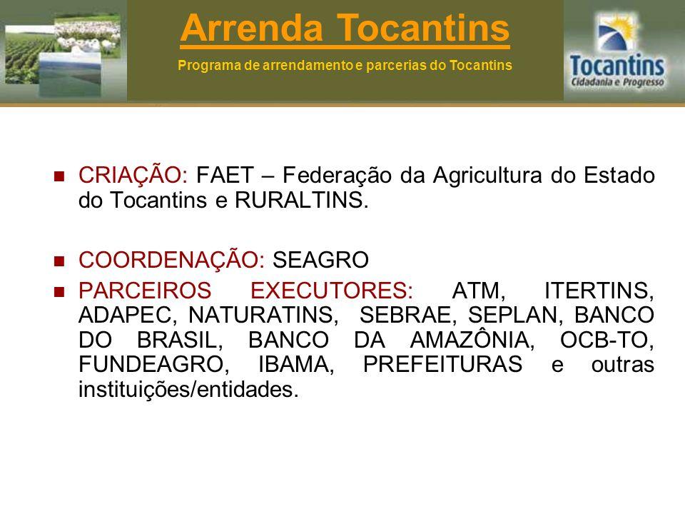 CRIAÇÃO: FAET – Federação da Agricultura do Estado do Tocantins e RURALTINS.