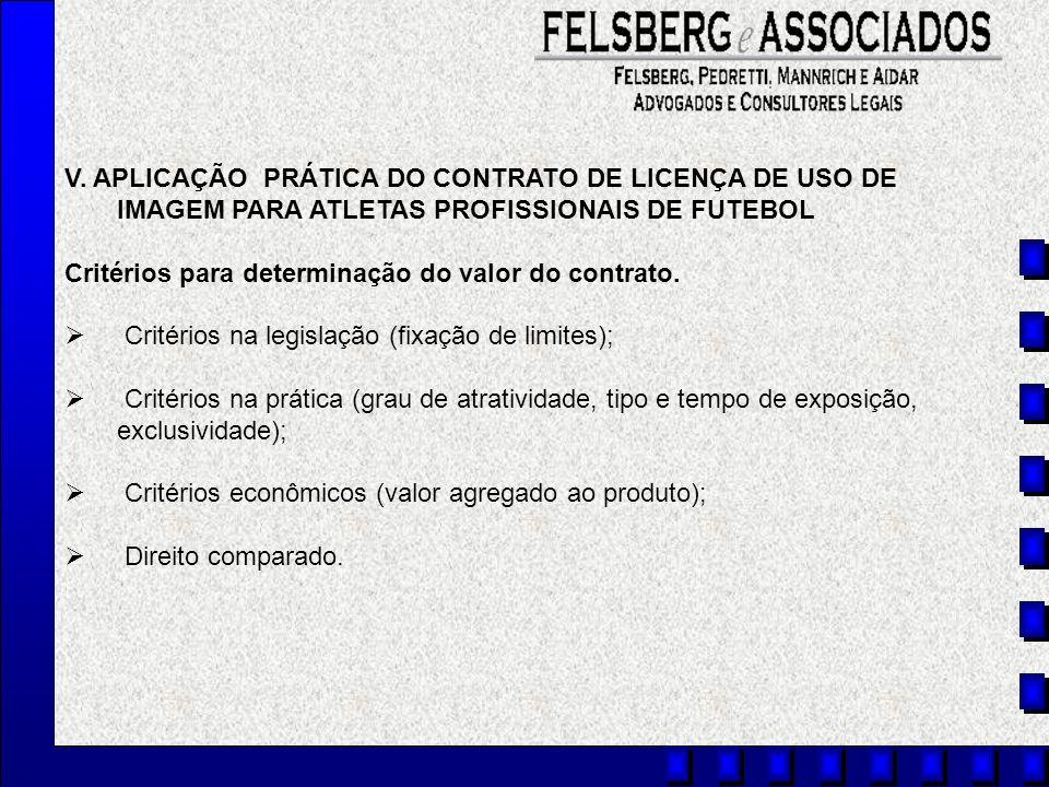 V. APLICAÇÃO PRÁTICA DO CONTRATO DE LICENÇA DE USO DE IMAGEM PARA ATLETAS PROFISSIONAIS DE FUTEBOL Critérios para determinação do valor do contrato. C