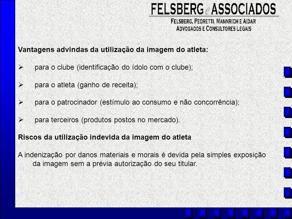 Vantagens advindas da utilização da imagem do atleta: para o clube (identificação do ídolo com o clube); para o atleta (ganho de receita); para o patr