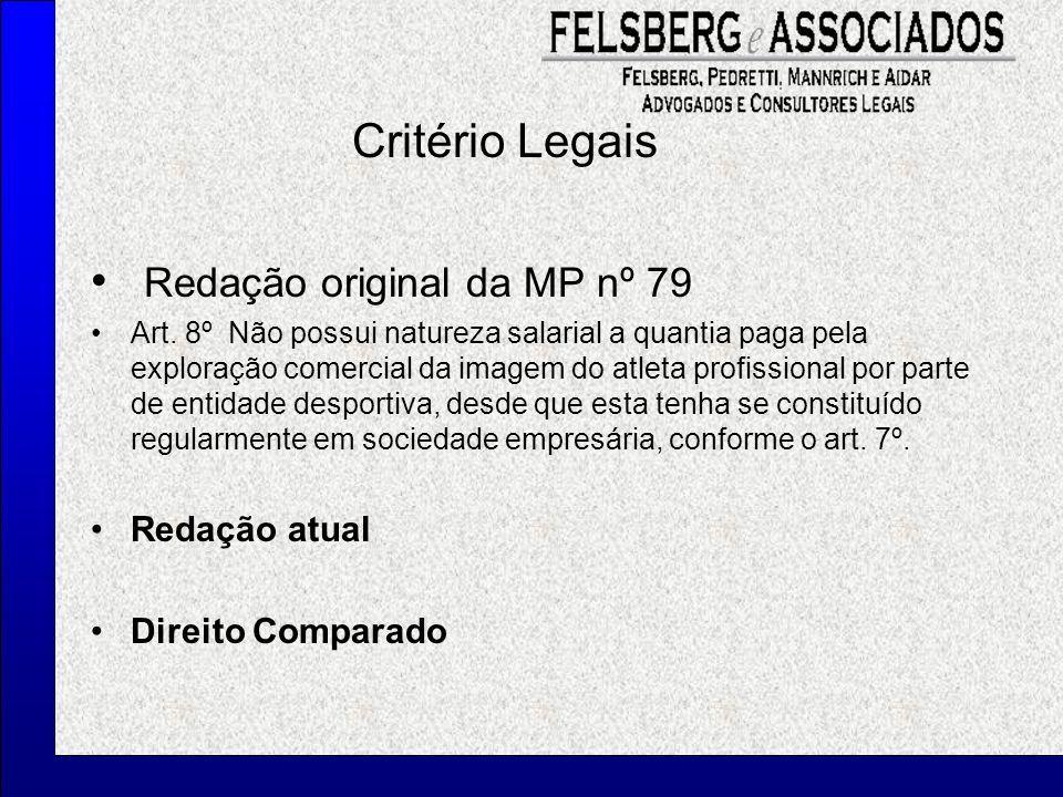 Critério Legais Redação original da MP nº 79 Art. 8º Não possui natureza salarial a quantia paga pela exploração comercial da imagem do atleta profiss