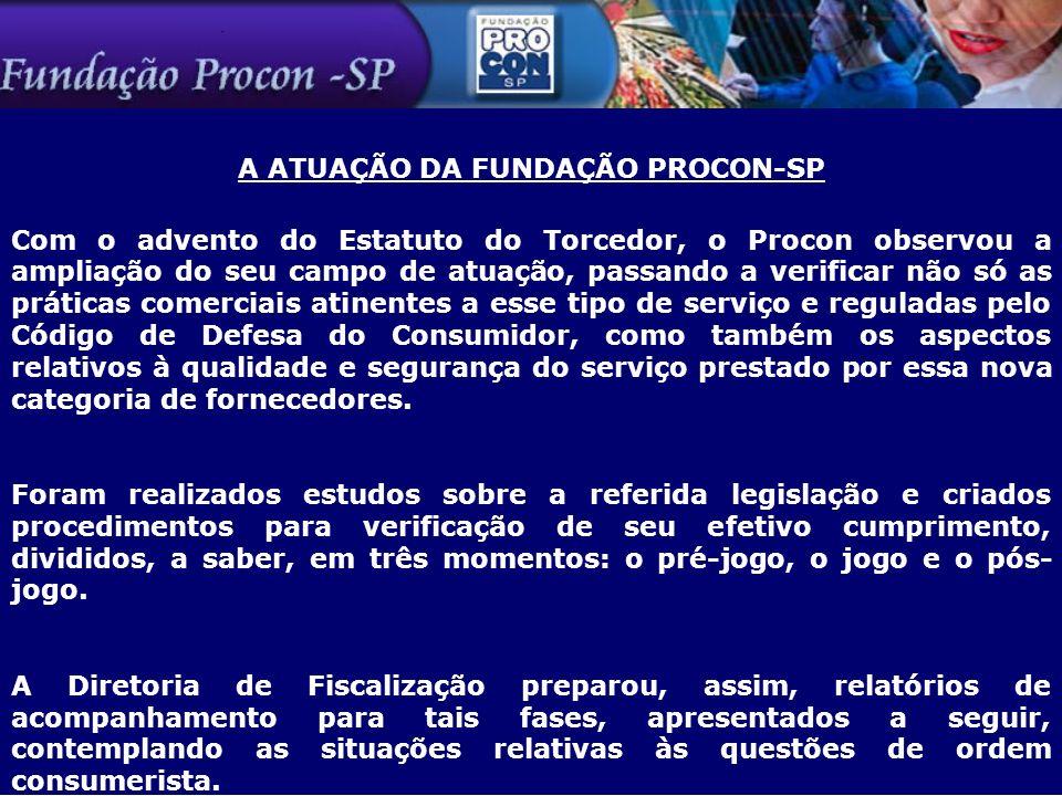 A ATUAÇÃO DA FUNDAÇÃO PROCON-SP Com o advento do Estatuto do Torcedor, o Procon observou a ampliação do seu campo de atuação, passando a verificar não