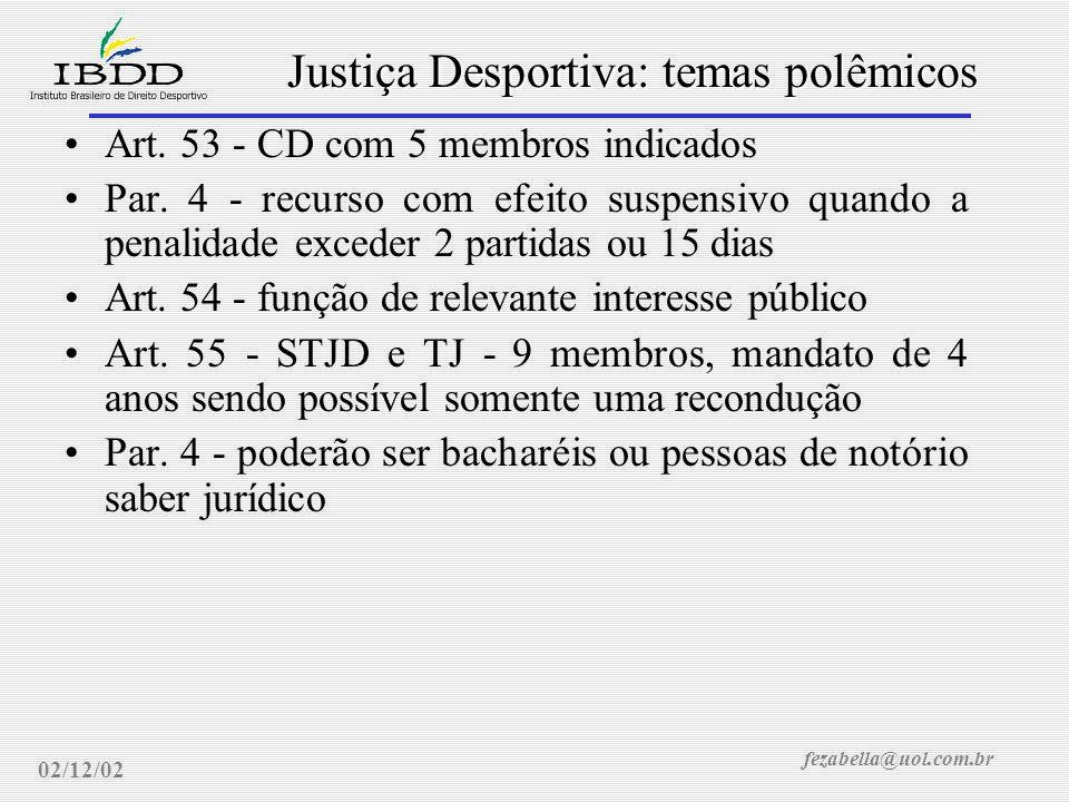 fezabella@uol.com.br Justiça Desportiva: temas polêmicos 02/12/02 Projeto de Lei do Senado 38/2001 - Autor Senador Maguito Vilela (PMDB/GO) e Relator Senador Álvaro Dias (PDT/PR) Art.