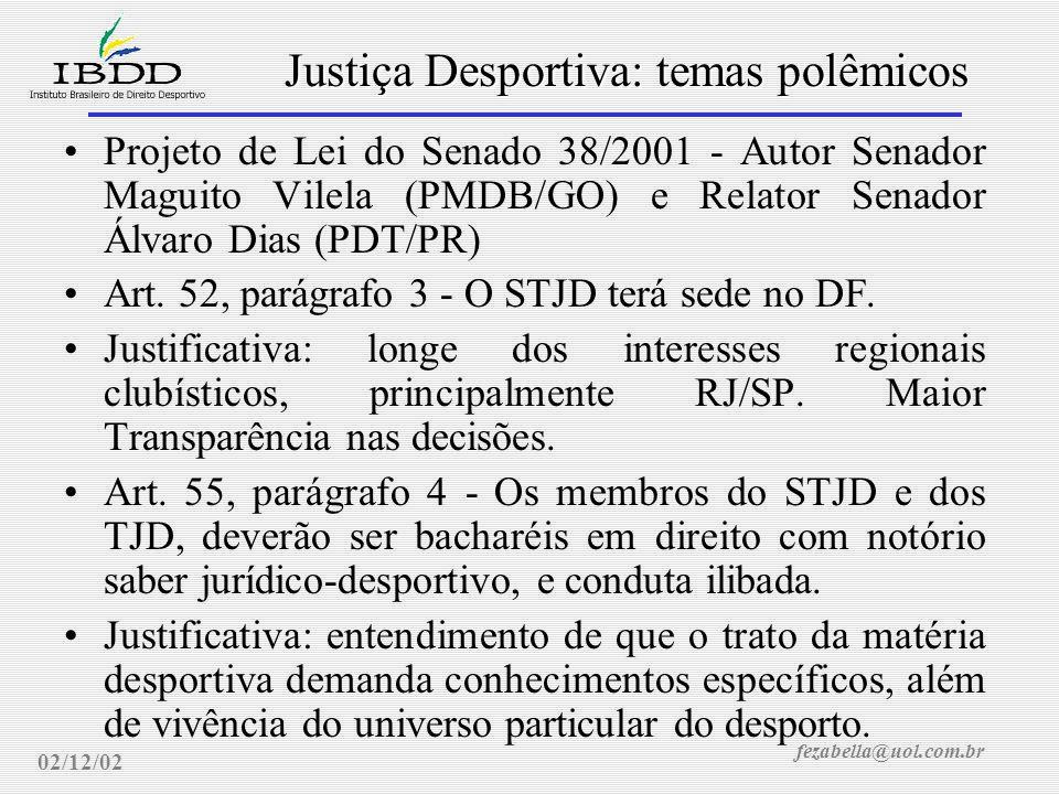 fezabella@uol.com.br Justiça Desportiva: temas polêmicos 02/12/02 Projeto de Lei 4.874/2001 - Autor Deputado Silvio Torres, Relator Deputado Gilmar Machado Art.