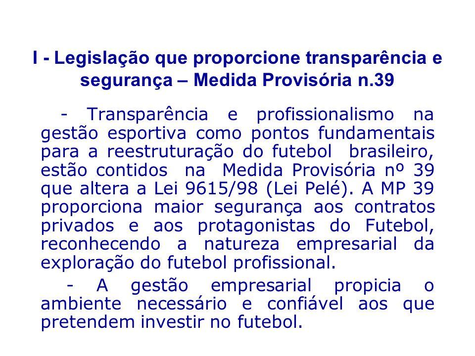 I - Legislação que proporcione transparência e segurança – Medida Provisória n.39 - Transparência e profissionalismo na gestão esportiva como pontos fundamentais para a reestruturação do futebol brasileiro, estão contidos na Medida Provisória nº 39 que altera a Lei 9615/98 (Lei Pelé).