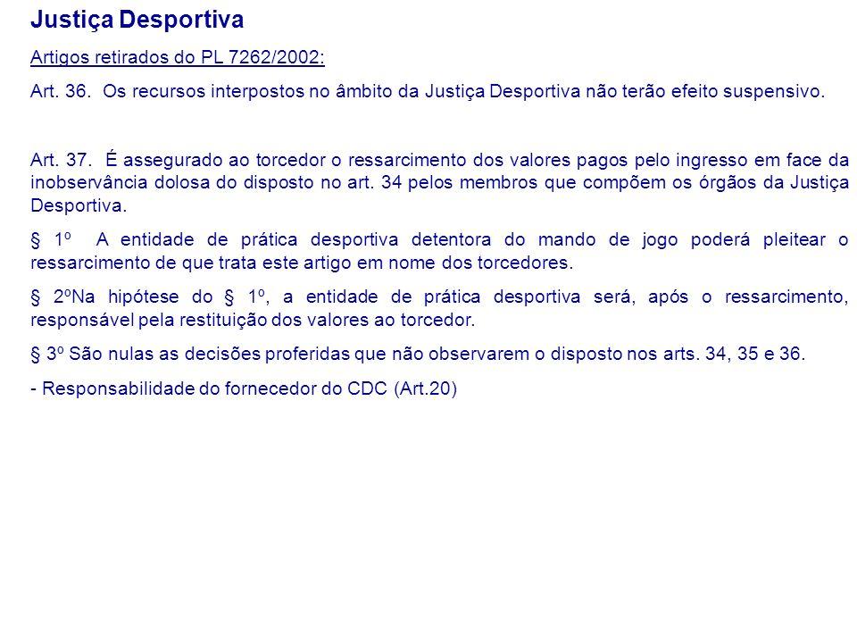Justiça Desportiva Artigos retirados do PL 7262/2002: Art.
