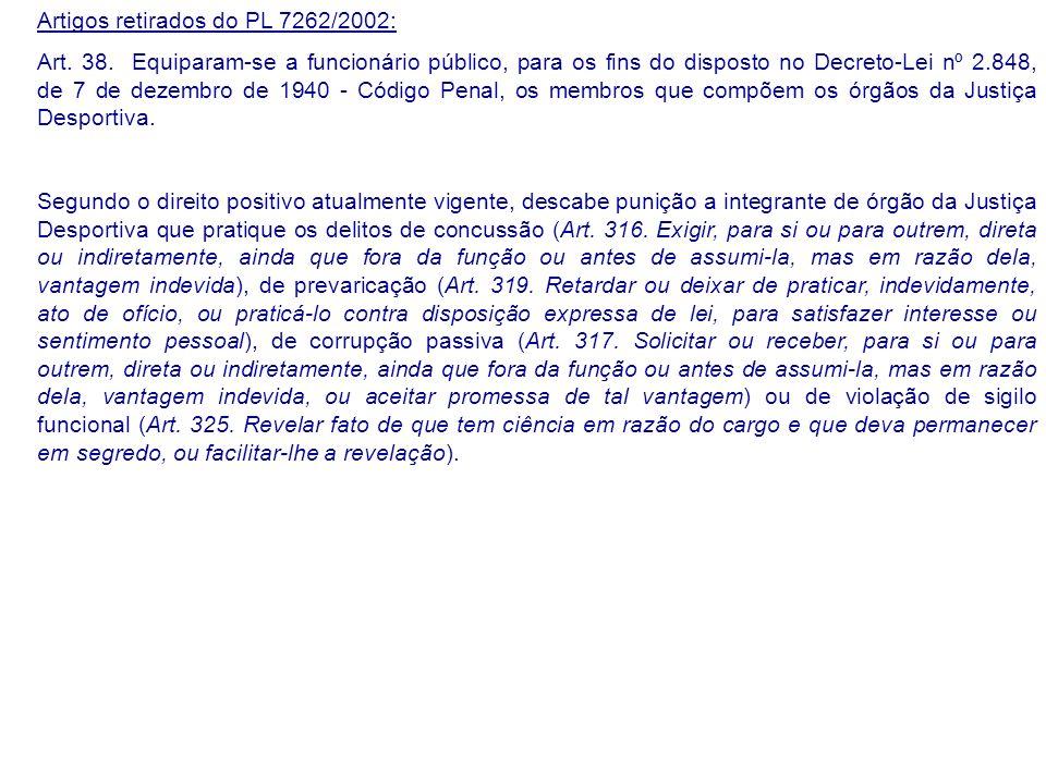 Artigos retirados do PL 7262/2002: Art. 38.