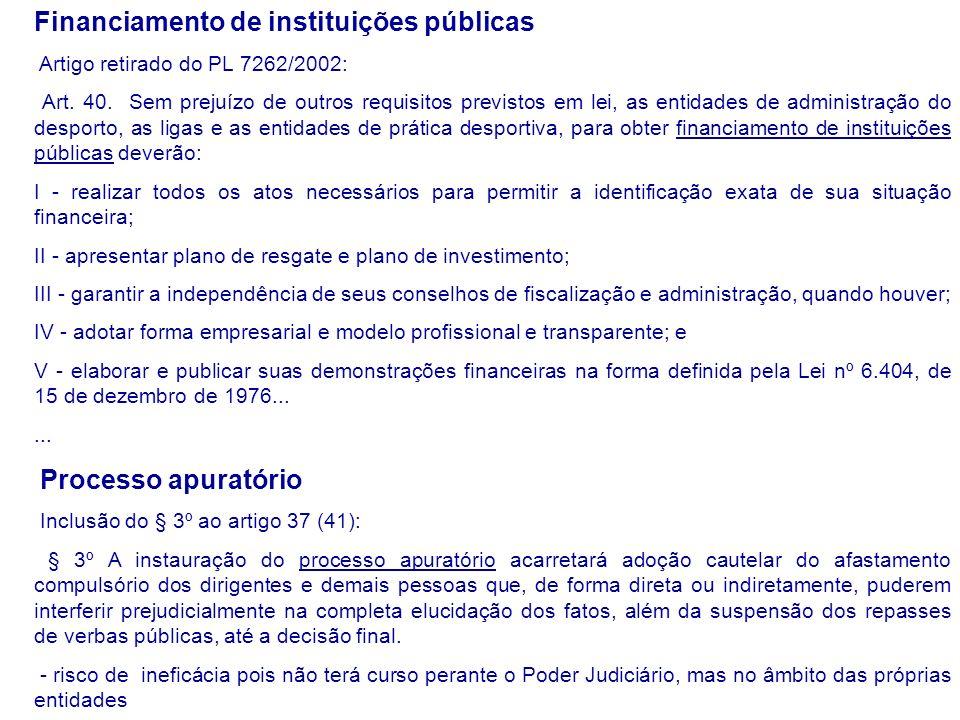 Financiamento de instituições públicas Artigo retirado do PL 7262/2002: Art.