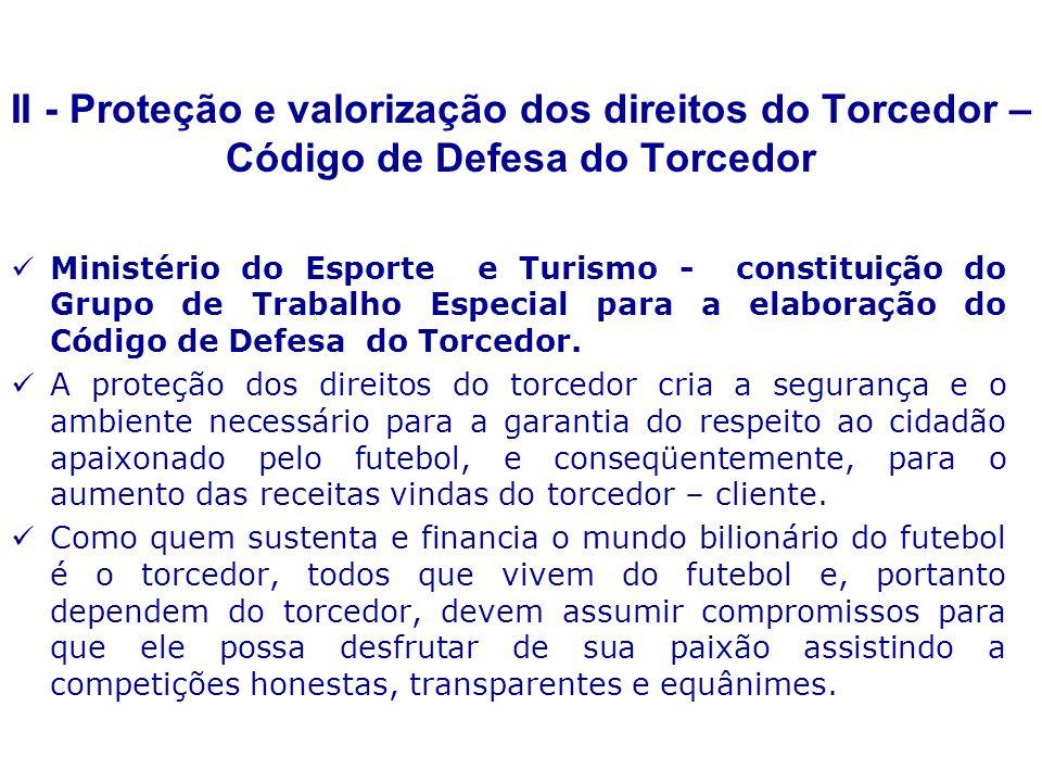 Ministério do Esporte e Turismo - constituição do Grupo de Trabalho Especial para a elaboração do Código de Defesa do Torcedor.