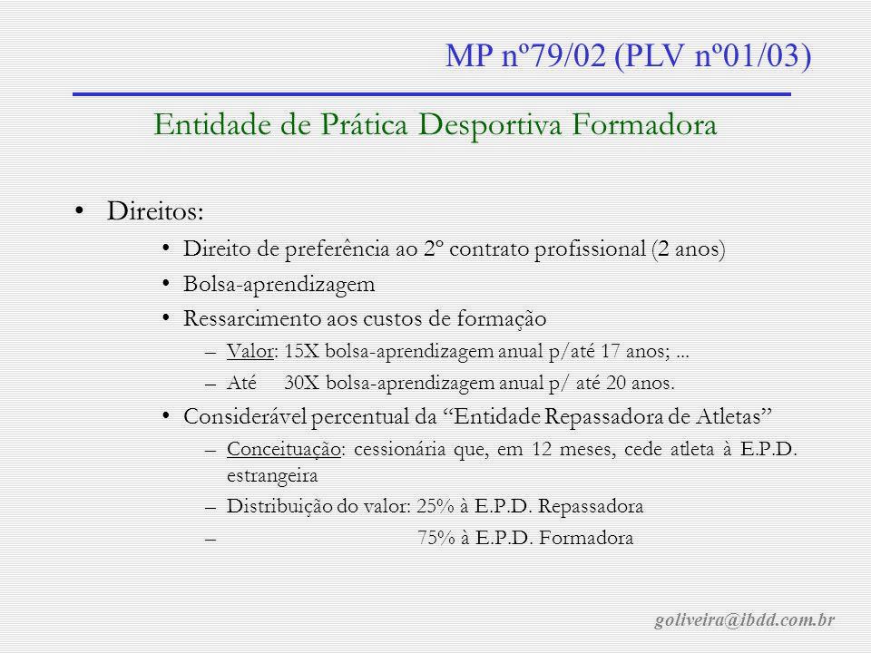 goliveira@ibdd.com.br MP nº79/02 (PLV nº01/03) Financiamento do Esporte Financiamento com recurso público mediante transparência e profissionalismo na gestão corporativa.
