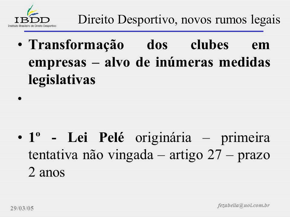fezabella@uol.com.br Direito Desportivo, novos rumos legais 29/03/05 Transformação dos clubes em empresas – alvo de inúmeras medidas legislativas 1º -