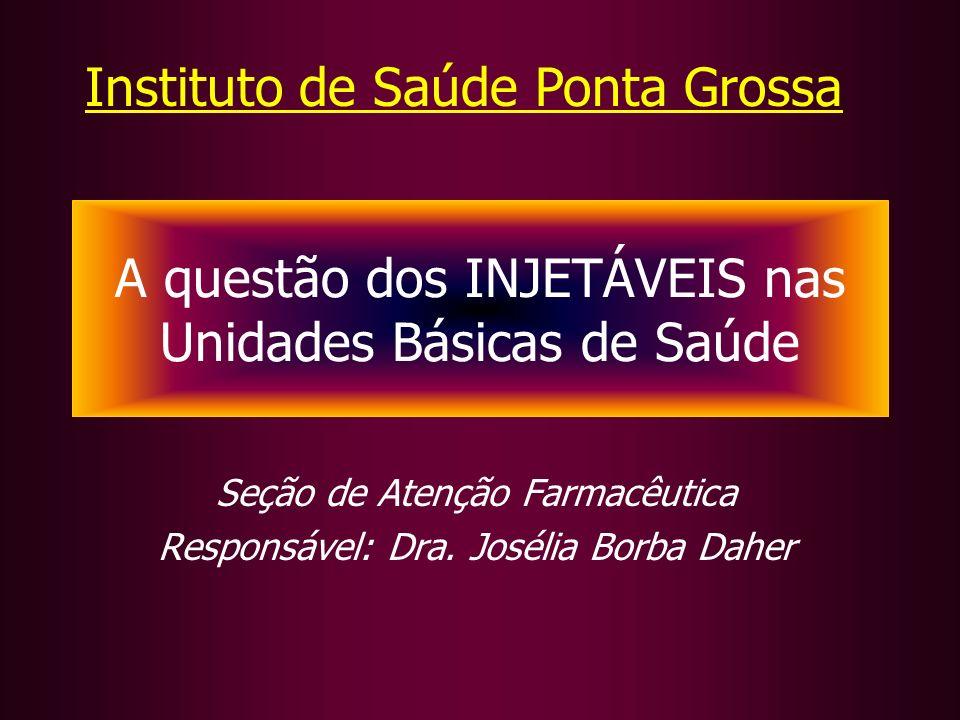 Seção de Atenção Farmacêutica Responsável: Dra. Josélia Borba Daher A questão dos INJETÁVEIS nas Unidades Básicas de Saúde Instituto de Saúde Ponta Gr