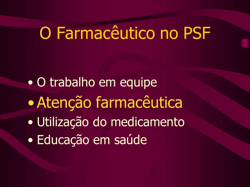 O Farmacêutico no PSF O trabalho em equipe Atenção farmacêutica Utilização do medicamento Educação em saúde