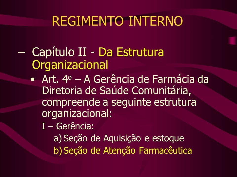 –Capítulo II - Da Estrutura Organizacional Art. 4 o – A Gerência de Farmácia da Diretoria de Saúde Comunitária, compreende a seguinte estrutura organi