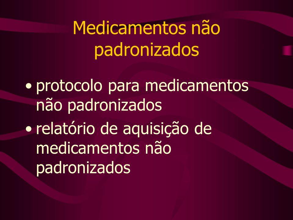 Medicamentos não padronizados protocolo para medicamentos não padronizados relatório de aquisição de medicamentos não padronizados