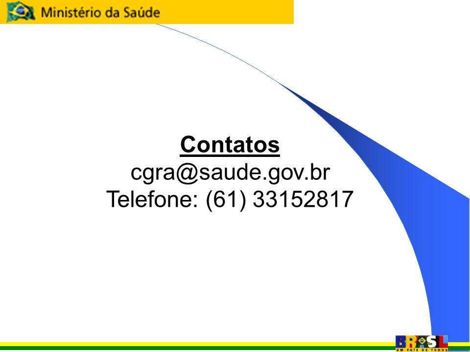 Contatos cgra@saude.gov.br Telefone: (61) 33152817