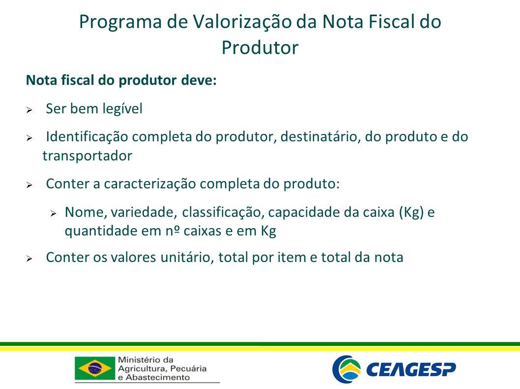 Programa de Valorização da Nota Fiscal do Produtor Nota fiscal do produtor deve: Ser bem legível Identificação completa do produtor, destinatário, do