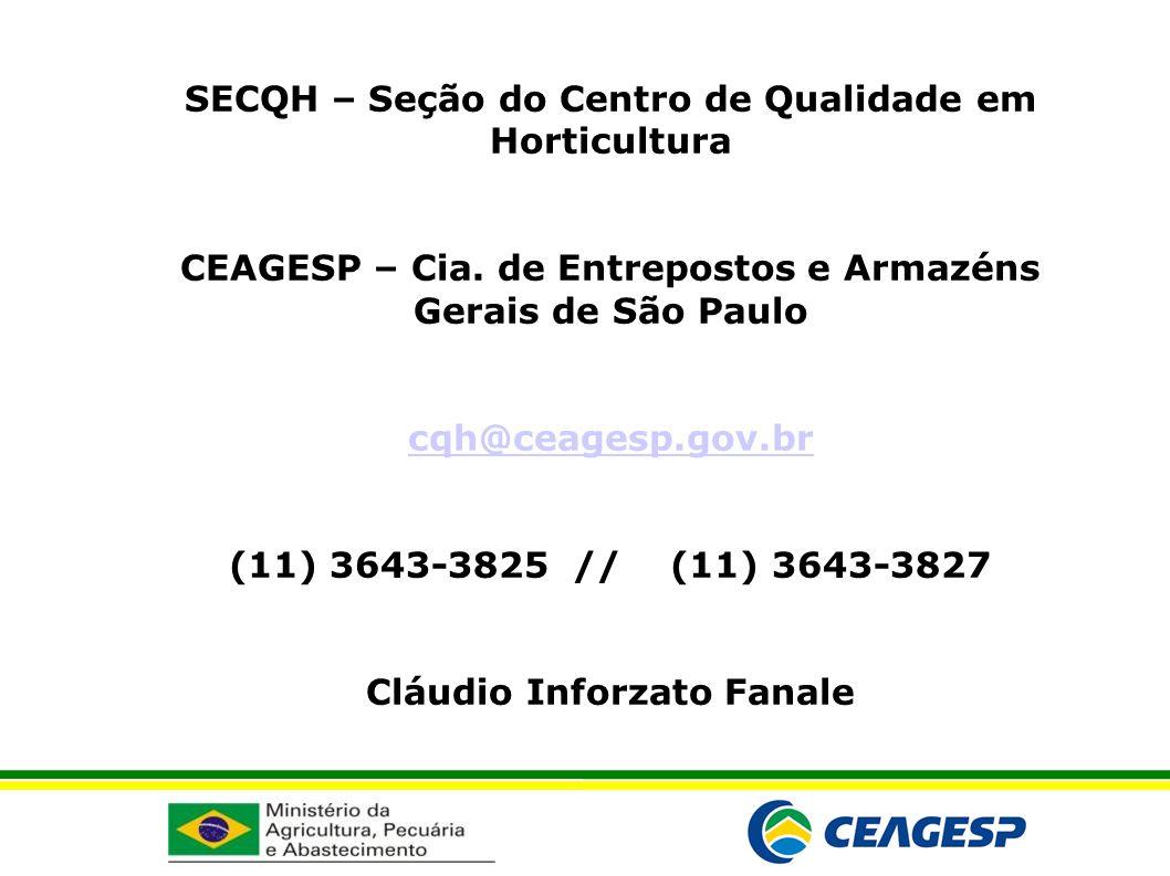 SECQH – Seção do Centro de Qualidade em Horticultura CEAGESP – Cia. de Entrepostos e Armazéns Gerais de São Paulo cqh@ceagesp.gov.br (11) 3643-3825 //