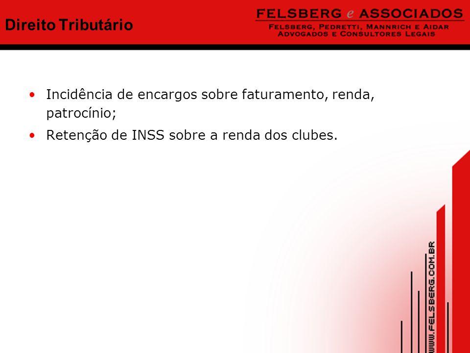 Direito Tributário Incidência de encargos sobre faturamento, renda, patrocínio; Retenção de INSS sobre a renda dos clubes.