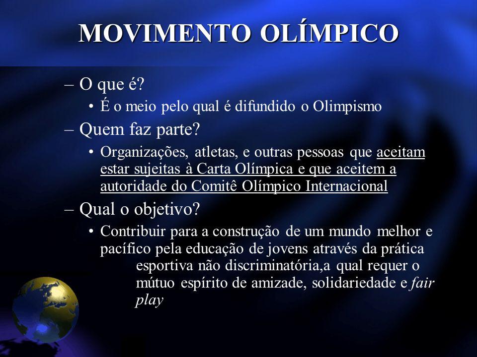 MOVIMENTO OLÍMPICO –O que é. É o meio pelo qual é difundido o Olimpismo –Quem faz parte.