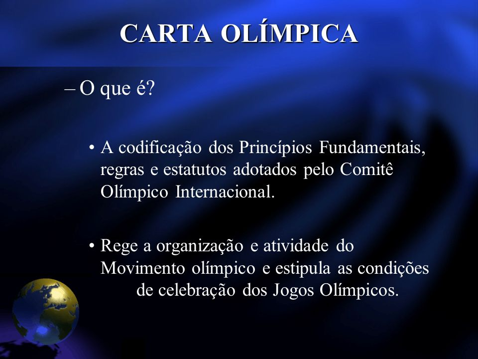 Obrigações dos Membros do COI Prestar o seguinte juramento: –Granted the honour of becoming a member of the International Olympic Committee and of representing it, and declaring myself aware of my responsibilities in such capacity, I undertake to serve the Olympic Movement to the very best of my ability, to respect and ensure the respect of all the provisions of the Olympic charter and the decisions of the IOC, which I consider as not subject to appeal on my part, to comply with the Code of Ethics, to keep myself free from any political or commercial influence and form any racial or religious consideration, to fight against all other forms of discrimination and to defend it all circumstances the interests of the IOC and those of the Olympic Movement.