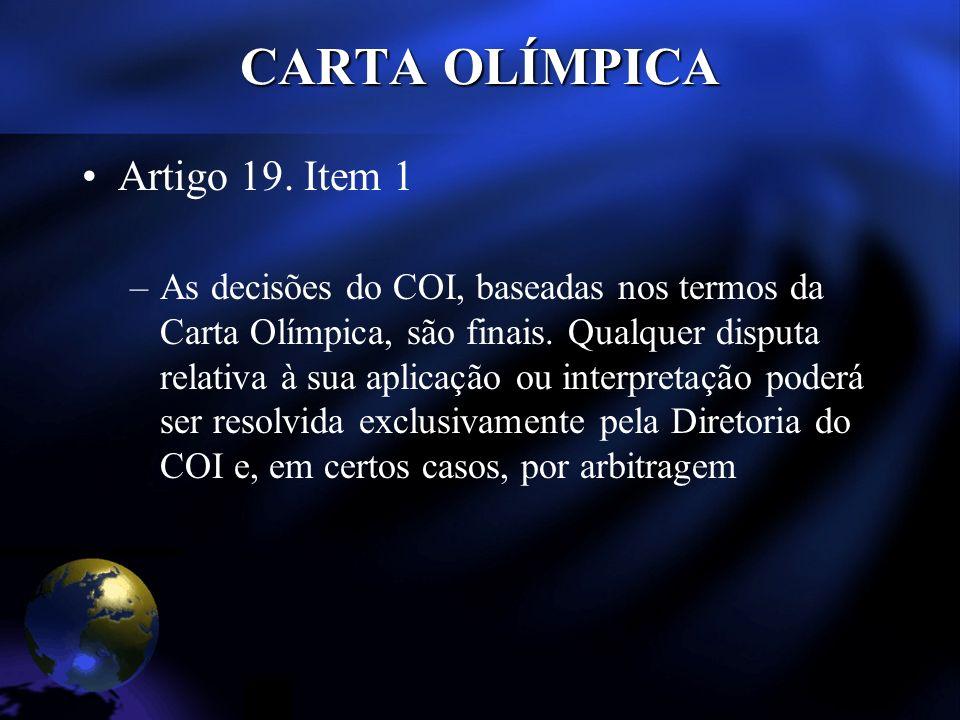 CARTA OLÍMPICA Artigo 19.
