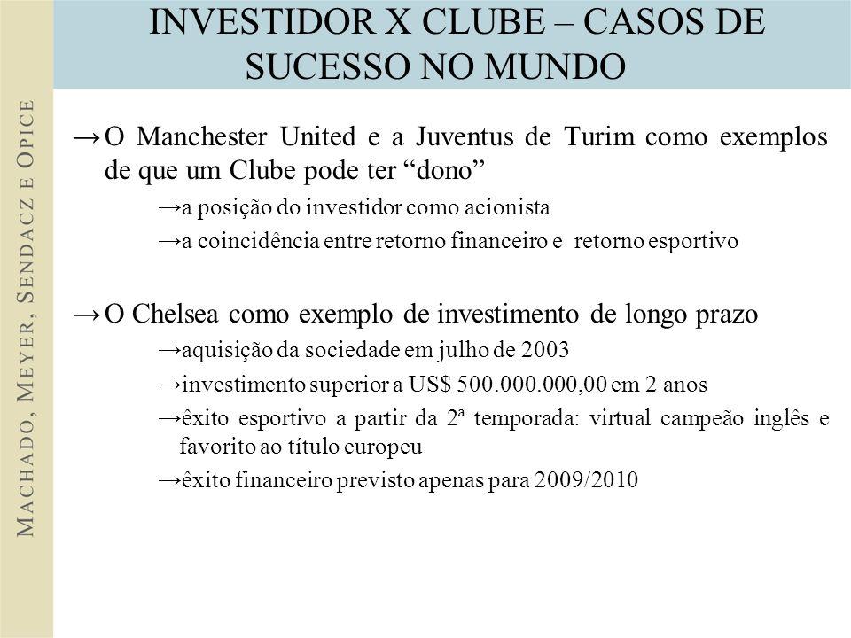 INVESTIDOR X CLUBE – CASOS DE SUCESSO NO MUNDO O Manchester United e a Juventus de Turim como exemplos de que um Clube pode ter dono a posição do inve