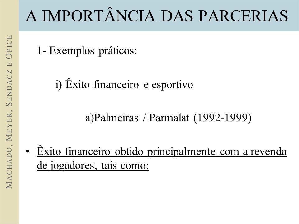 A IMPORTÂNCIA DAS PARCERIAS 1- Exemplos práticos: i) Êxito financeiro e esportivo a)Palmeiras / Parmalat (1992-1999) Êxito financeiro obtido principalmente com a revenda de jogadores, tais como: