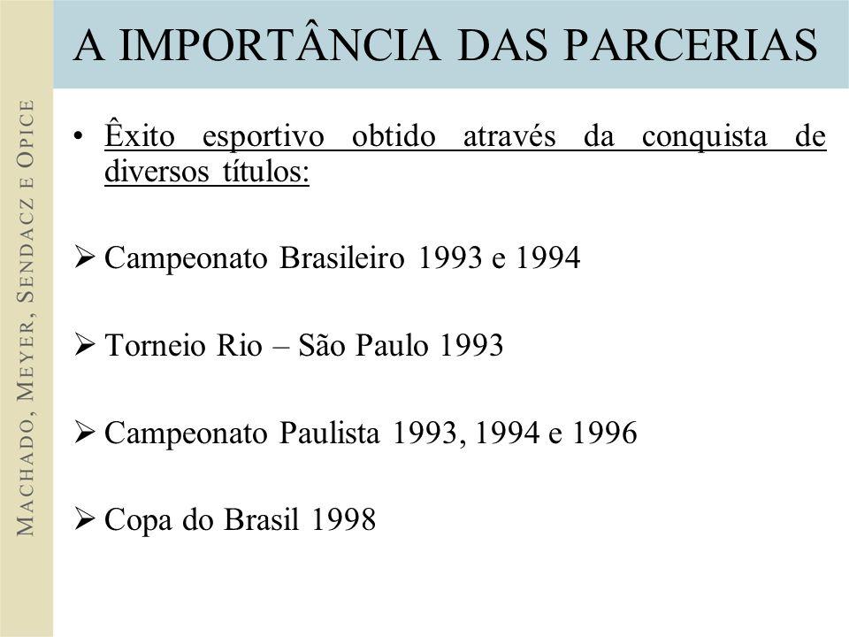 A IMPORTÂNCIA DAS PARCERIAS Êxito esportivo obtido através da conquista de diversos títulos: Campeonato Brasileiro 1993 e 1994 Torneio Rio – São Paulo 1993 Campeonato Paulista 1993, 1994 e 1996 Copa do Brasil 1998