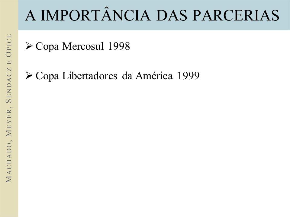 A IMPORTÂNCIA DAS PARCERIAS Copa Mercosul 1998 Copa Libertadores da América 1999