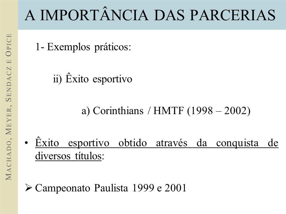 A IMPORTÂNCIA DAS PARCERIAS 1- Exemplos práticos: ii) Êxito esportivo a) Corinthians / HMTF (1998 – 2002) Êxito esportivo obtido através da conquista de diversos títulos: Campeonato Paulista 1999 e 2001