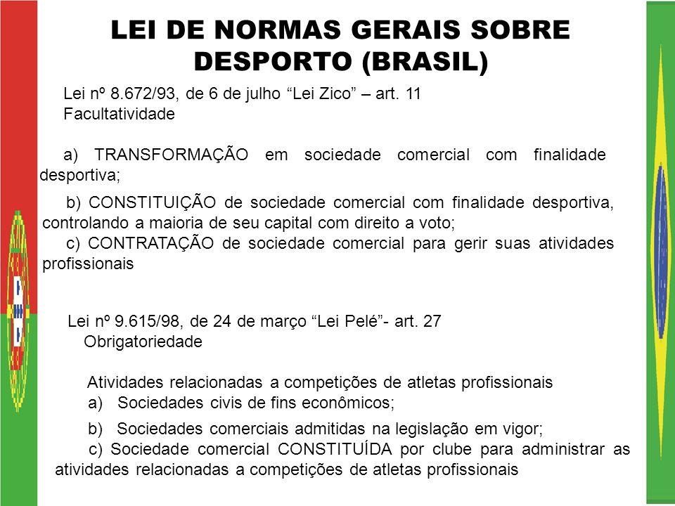 LEI DE NORMAS GERAIS SOBRE DESPORTO (BRASIL) Lei nº 8.672/93, de 6 de julho Lei Zico – art. 11 Facultatividade a) TRANSFORMAÇÃO em sociedade comercial