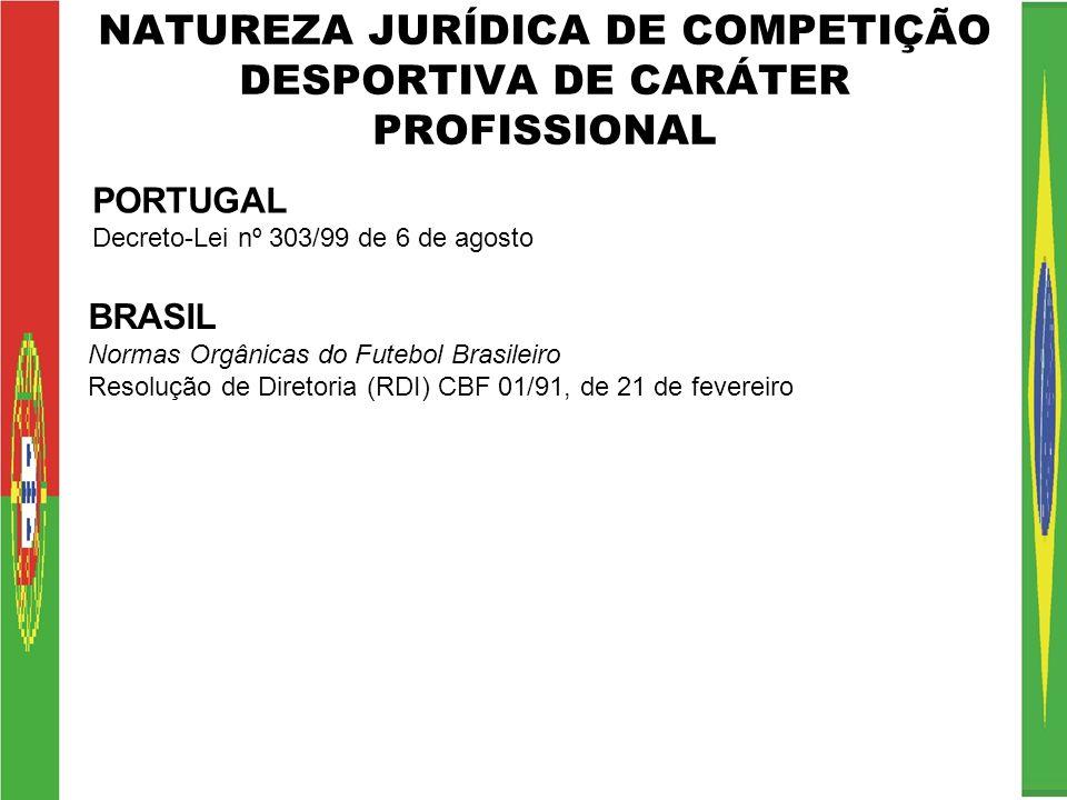 NATUREZA JURÍDICA DE COMPETIÇÃO DESPORTIVA DE CARÁTER PROFISSIONAL PORTUGAL Decreto-Lei nº 303/99 de 6 de agosto BRASIL Normas Orgânicas do Futebol Br