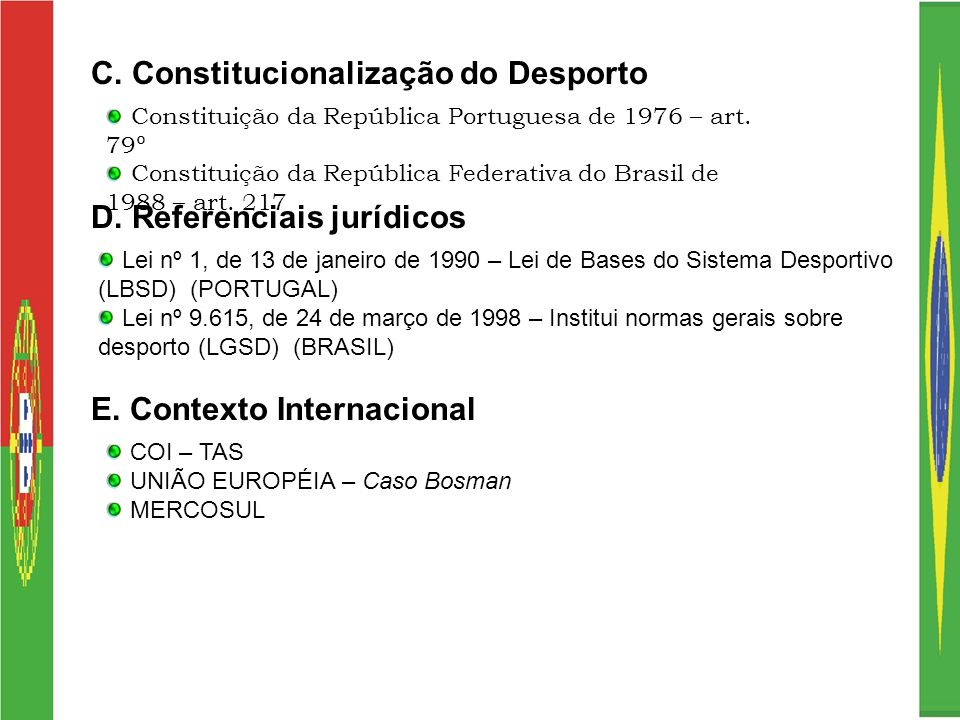 C. Constitucionalização do Desporto Constituição da República Portuguesa de 1976 – art. 79º Constituição da República Federativa do Brasil de 1988 – a