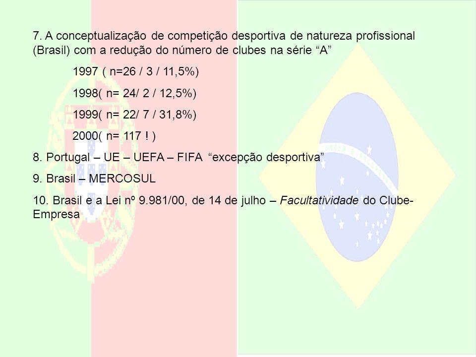 7. A conceptualização de competição desportiva de natureza profissional (Brasil) com a redução do número de clubes na série A 1997 ( n=26 / 3 / 11,5%)