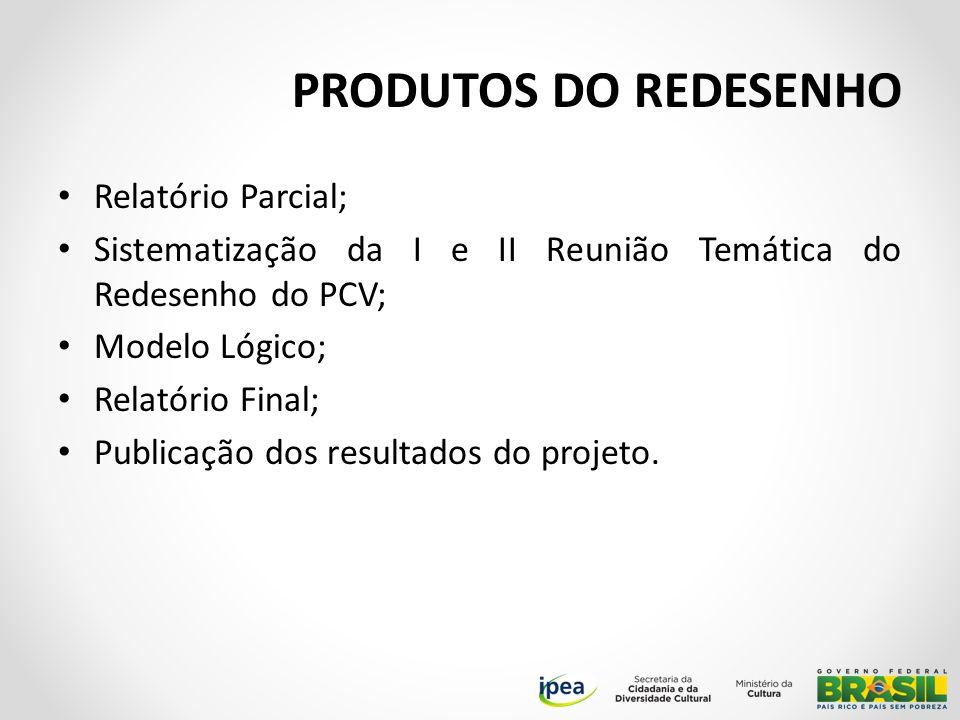 PRODUTOS DO REDESENHO Relatório Parcial; Sistematização da I e II Reunião Temática do Redesenho do PCV; Modelo Lógico; Relatório Final; Publicação dos resultados do projeto.