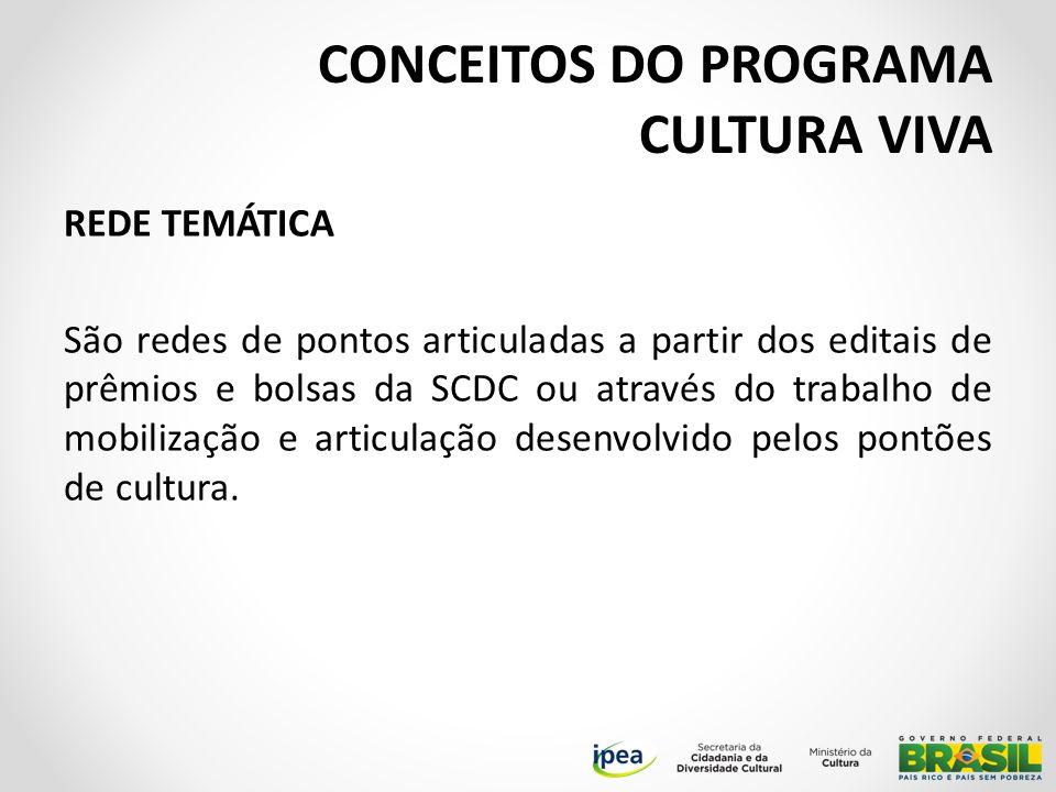 REDE TEMÁTICA São redes de pontos articuladas a partir dos editais de prêmios e bolsas da SCDC ou através do trabalho de mobilização e articulação desenvolvido pelos pontões de cultura.