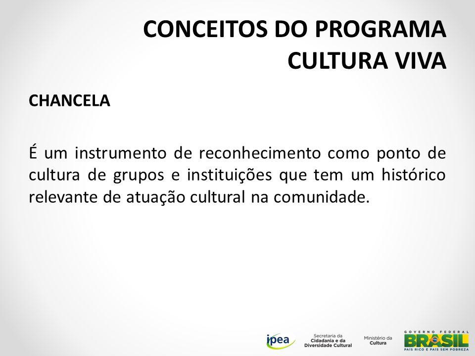 CHANCELA É um instrumento de reconhecimento como ponto de cultura de grupos e instituições que tem um histórico relevante de atuação cultural na comunidade.