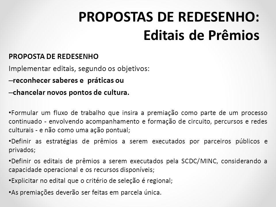 PROPOSTA DE REDESENHO Implementar editais, segundo os objetivos: – reconhecer saberes e práticas ou – chancelar novos pontos de cultura.