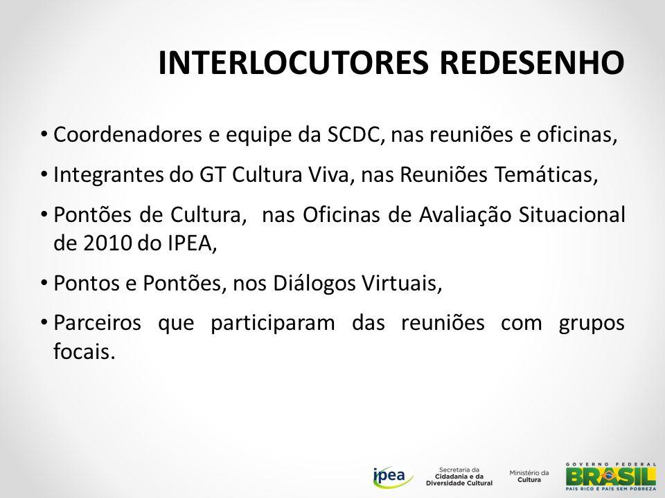 INTERLOCUTORES REDESENHO Coordenadores e equipe da SCDC, nas reuniões e oficinas, Integrantes do GT Cultura Viva, nas Reuniões Temáticas, Pontões de Cultura, nas Oficinas de Avaliação Situacional de 2010 do IPEA, Pontos e Pontões, nos Diálogos Virtuais, Parceiros que participaram das reuniões com grupos focais.